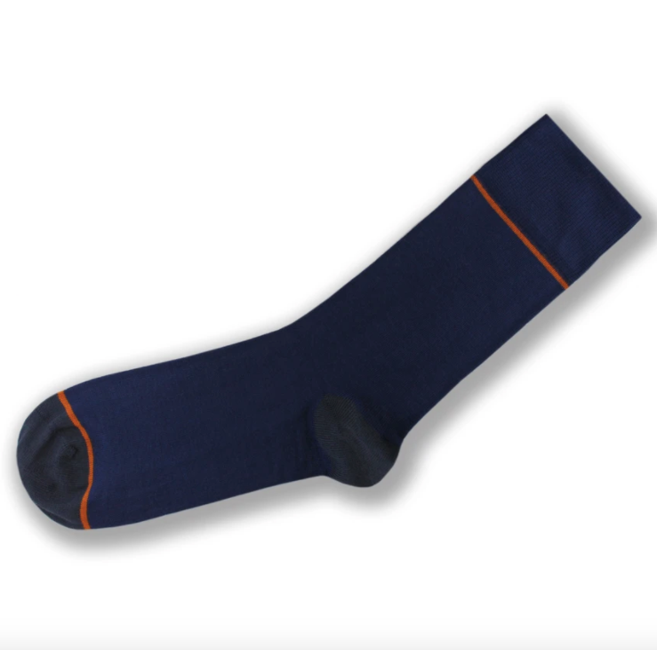 Blue Orange stripe Bamboo socks