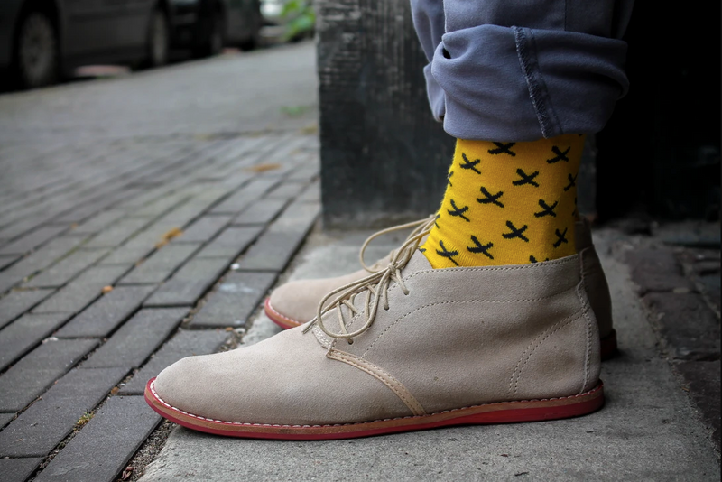 Yellow with grey Crosses Bamboo socks