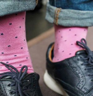 Pink with blue dots Bamboo socks