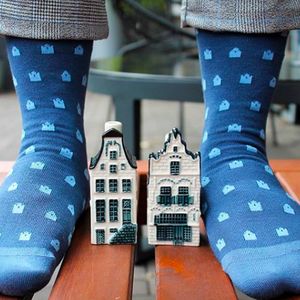 Blue Dutch Houses Bamboo socks