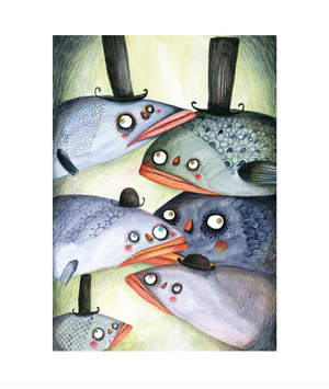 Fishes with hats A4 poster
