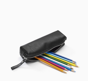 Pencil Pouch Black Leather Canvas