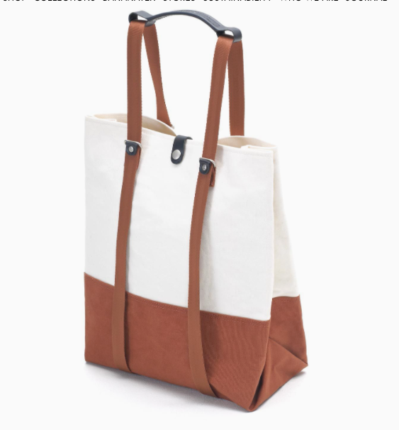 Shopper Organic Offwhite & Rust Canvas