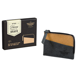 Zip Up Wallet Recycled Leather Black & Tan