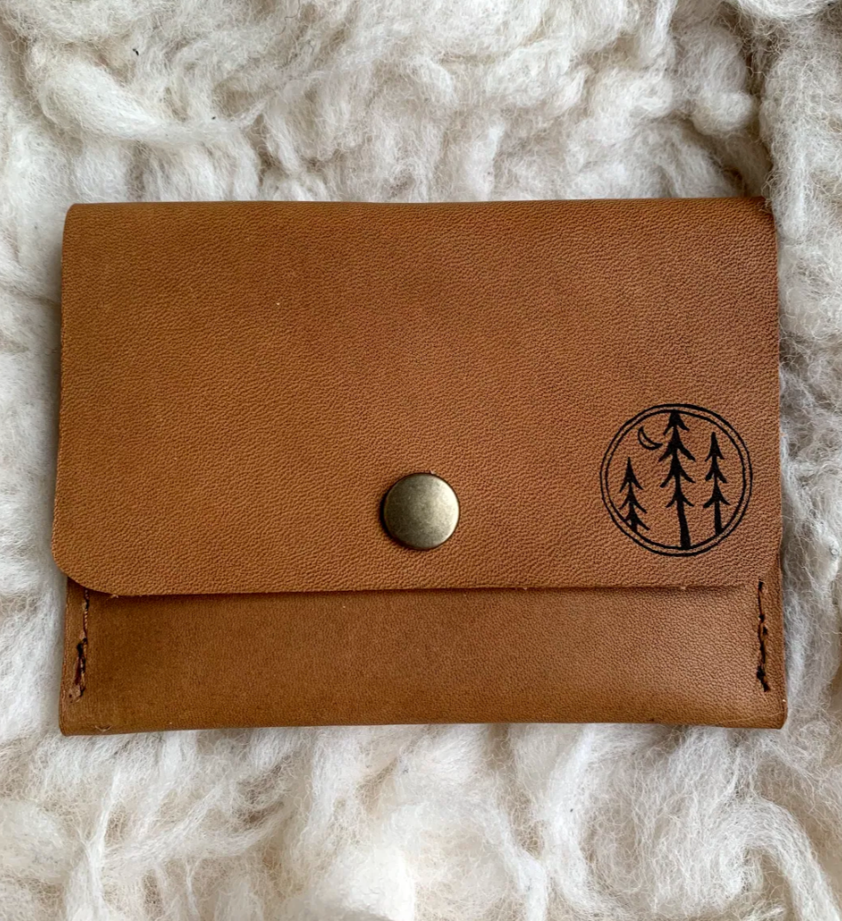 Leather Wallet - Tree Pattern