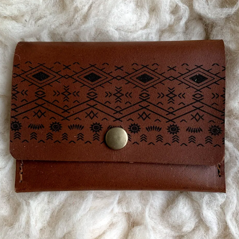Leather Wallet - Tribal Pattern