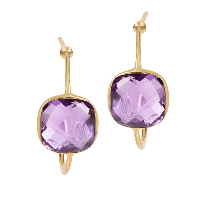 Sofia Amethyst Hoop Earrings
