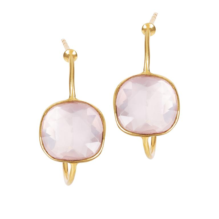 Sofia Pink Quartz Hoop Earrings