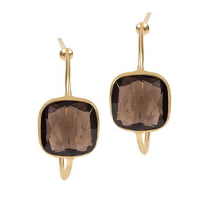 Sofia Smokey Quartz Hoop Earrings