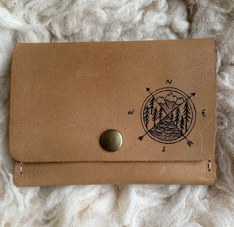 Leather Wallet - Compass Pattern