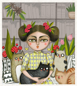 Lady and her cats A4