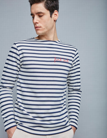 French Touch Sailor Shirt LS Off White Dark Blue