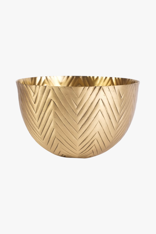 H. Skjalm P. Bowl Herringbone Matt Brass, Decoration, H. Skjalm P. - Six and Sons