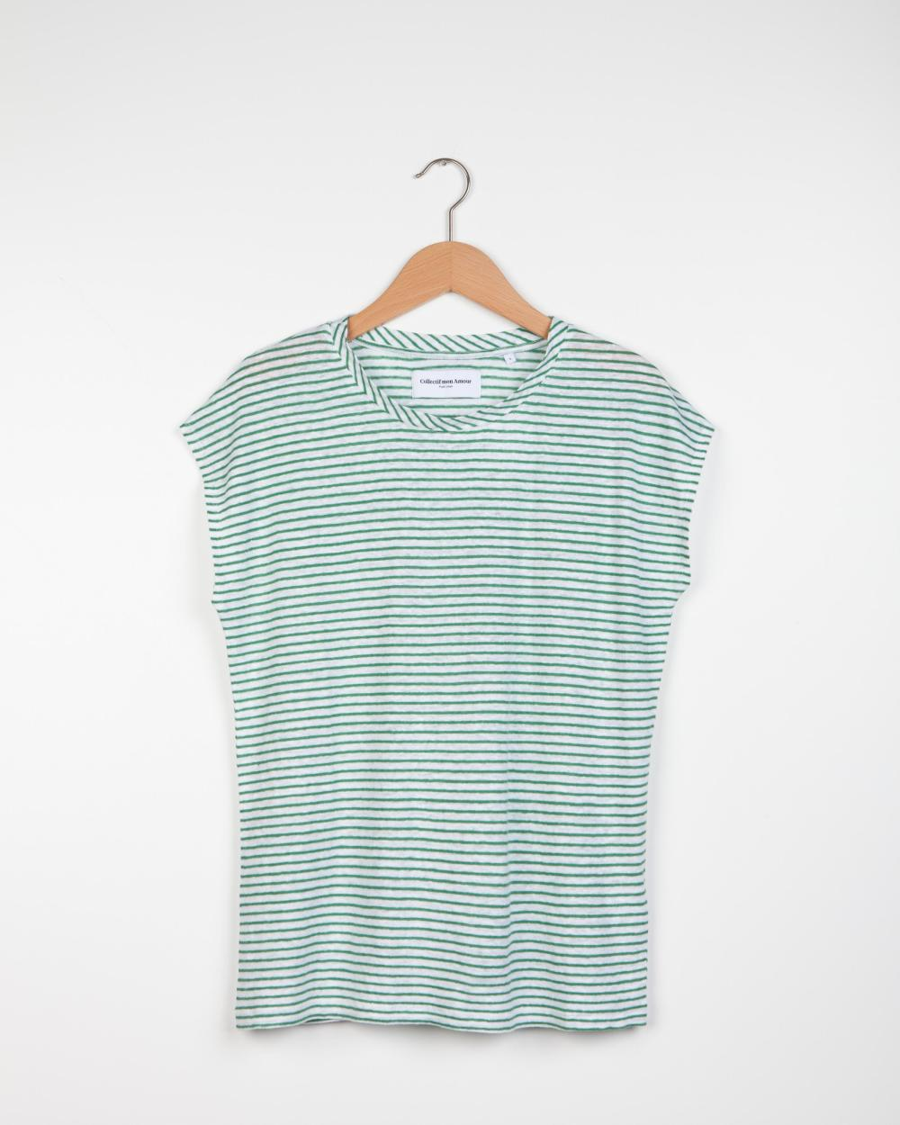 Geraldine Stripe T-shirt - White/Green