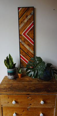 Geometric wood pattern wall art refurbished