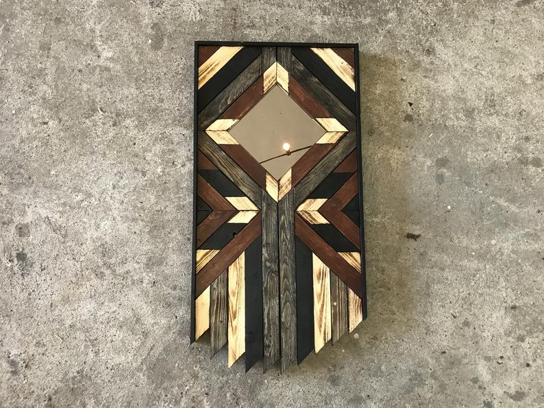 Geometric wood pattern wall art refurbished mirror