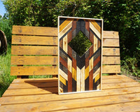 Geometric wooden mirror pattern / wall art refurbished