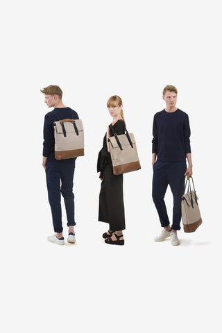 Day Tote Brown Leather Canvas, Bags, QWSTION - Six and Sons