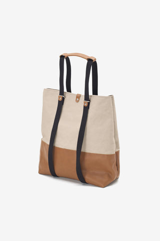 Shopper Brown Leather Canvas, Bags, QWSTION - Six and Sons
