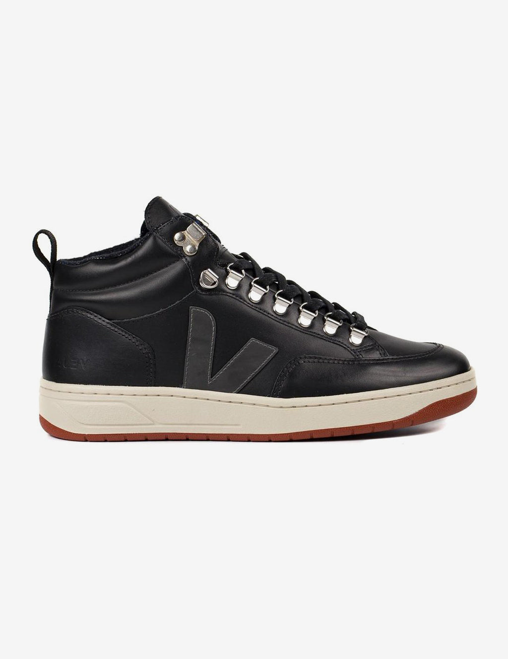 Veja Man Roraima Bastille Leather Black Graphite Rust Outsole