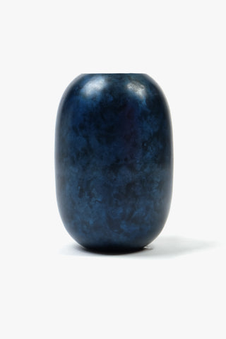 Vase Oval Black Blue Iron 10 x 16 cm, Interior, H. Skjalm P. - Six and Sons
