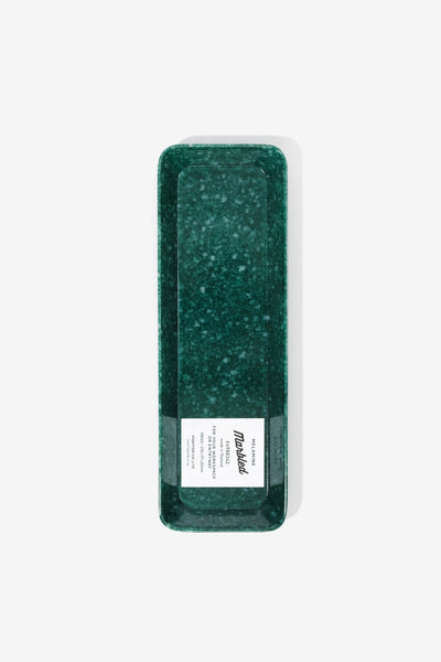 Marbled Melamine Pen Tray Dark Green, Office, Hightide - Six and Sons