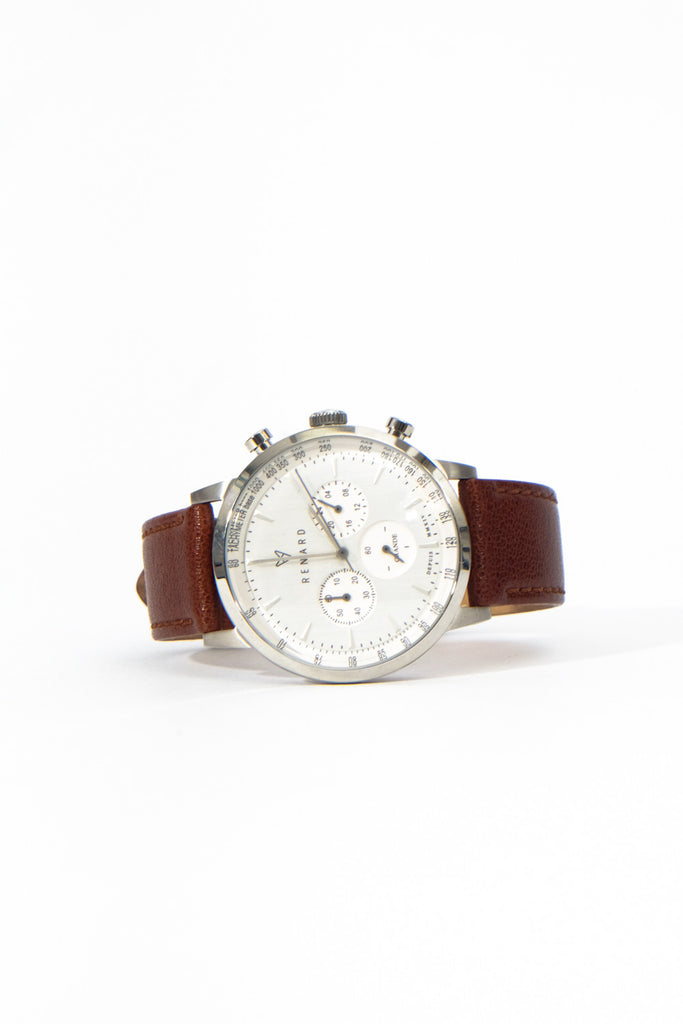 Grande Chrono Silver White Veau Tan, Watches, Renard - Six and Sons