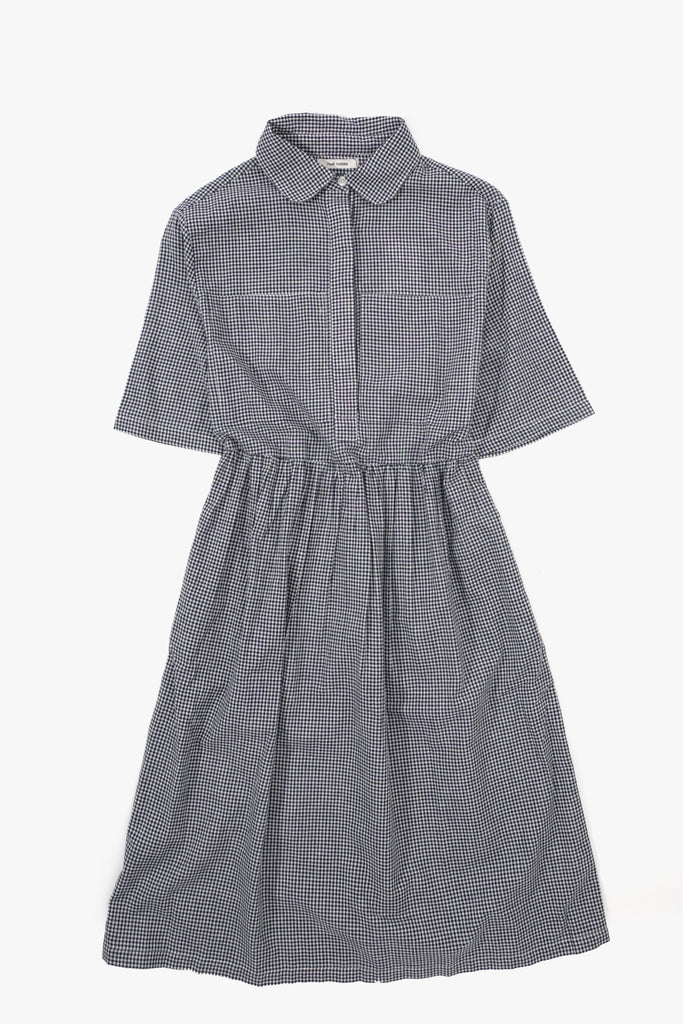 Nué Notes, Jenny Dress Navy Micro Check, Clothing Women, Nué Notes - Six and Sons