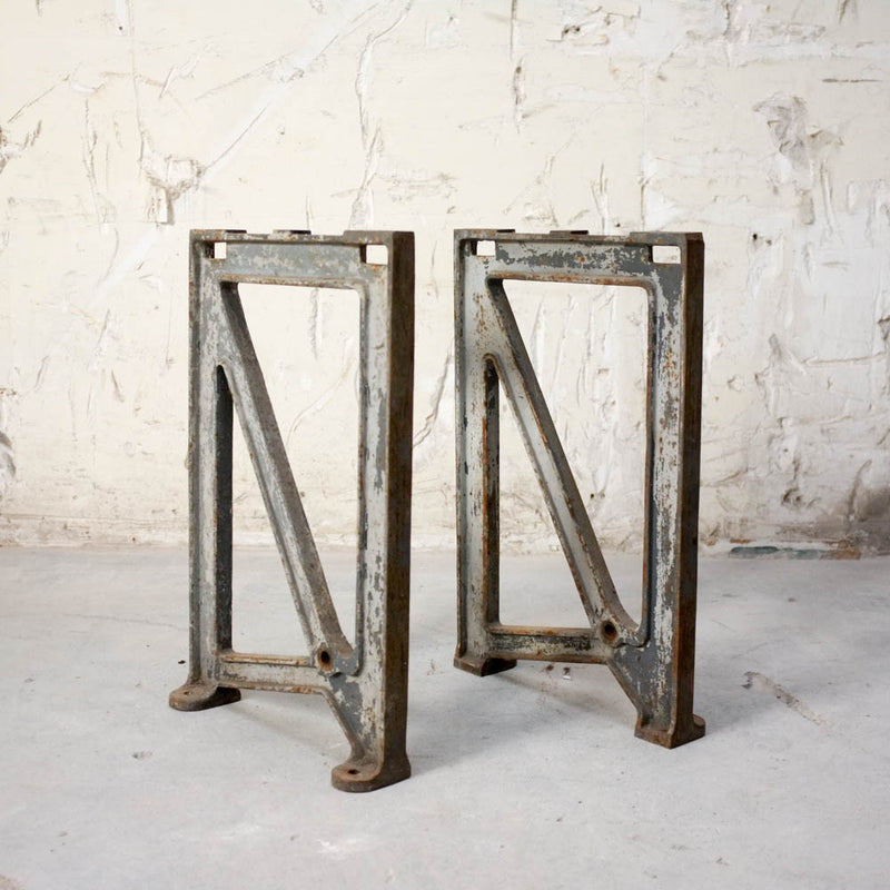 Oak table with cast iron machine legs #4, Vintage, Vintage Finds - Six and Sons