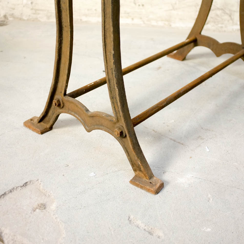 Oak table with cast iron machine legs #5, Vintage, Vintage Finds - Six and Sons