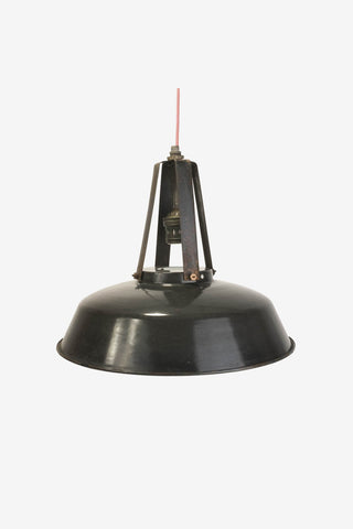 Black Enamel pendant light, Mazda, Vintage, Vintage Finds - Six and Sons
