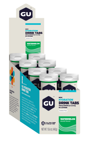GU Hydration Drink Tabs- Watermelon (Box of 8 Tubes) (Best By)