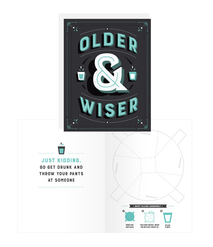 Shot Glass Card Older & Wiser