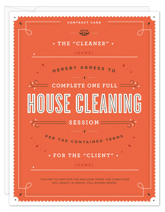House Cleaning Contract Card