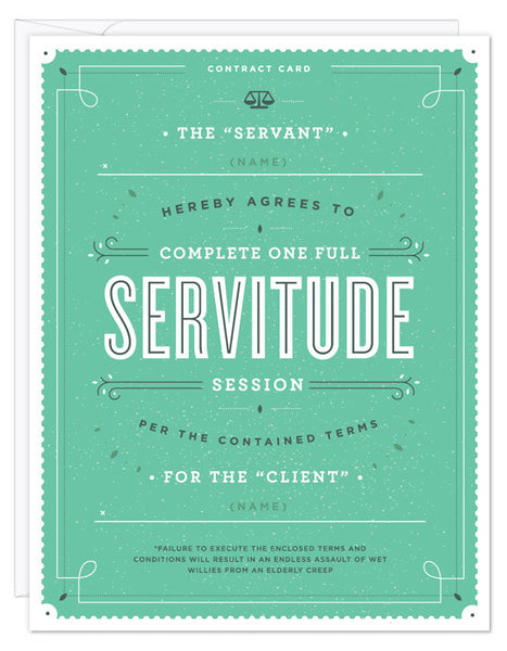 Servitude Contract Card