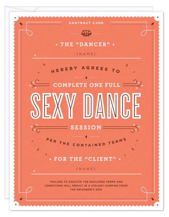 Sexy Dance Contract Card