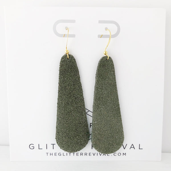 Olive Genuine Suede Simple Drop Earring