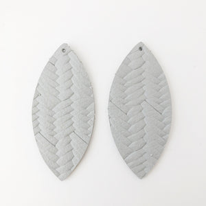 Smoke Braided Genuine Leather Petal Earring