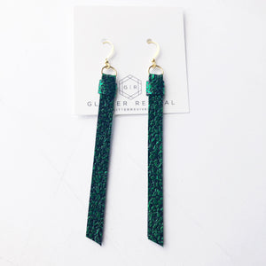 Super Slim Tassel Earrings- Emerald Druzy
