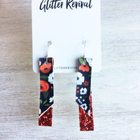 Holiday Foral & Matte Cherry- Double Layer Skinny Bar Earring