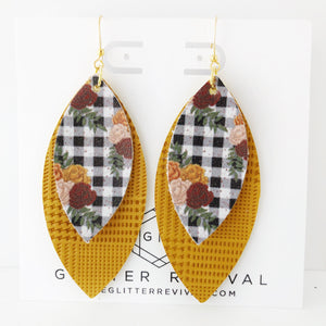 Mustard Fall Gingham Layered Petal Earrings