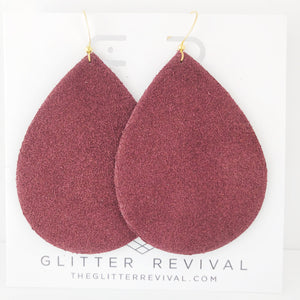 Burgundy Genuine Suede Jumbo Teardrop Earring