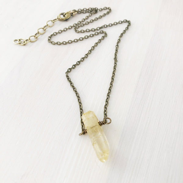 Raw Quartz Crystal Necklace- Yellow