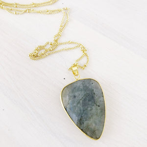 Gold Labradorite Drop Necklace