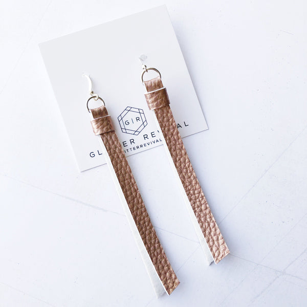 Super Slim Tassel Earrings- Metallic Rose Gold