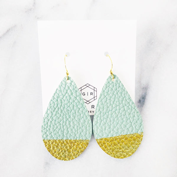 Gold Dipped Desert Oasis Teardrop Vegan Leather Earrings