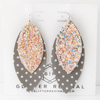 Shimmering Gray Layered Petal Earrings