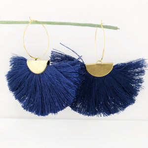 Navy Fanfare Tassel Hoop Earrings