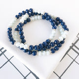 Navy & Aqua Beaded Stretch Bracelet