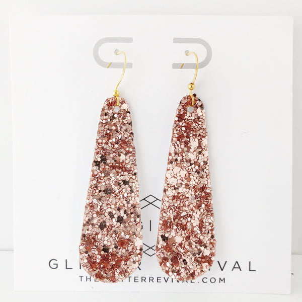 Rose Gold Glitter Simple Drop Earring